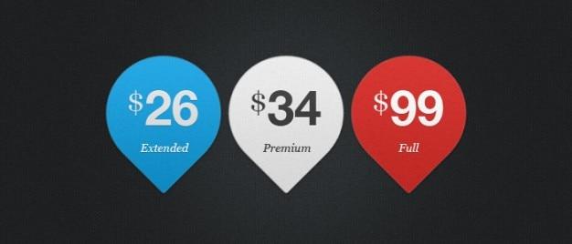 Tre cartellini dei prezzi psd materiale