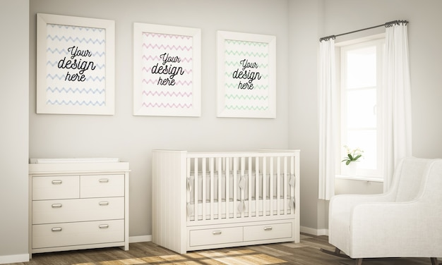 Tre fotogrammi sulla baby room mock up