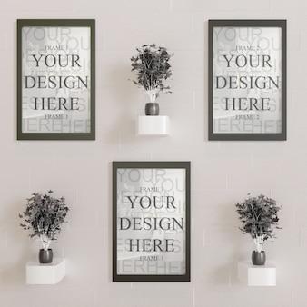 Tre mockup cornice orizzontale sul muro con piante decorative nere