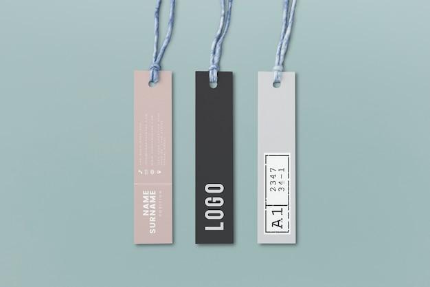 Tre mockup di tag etichetta di moda