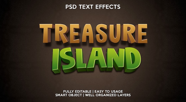 Treasure island teksteffect sjabloon