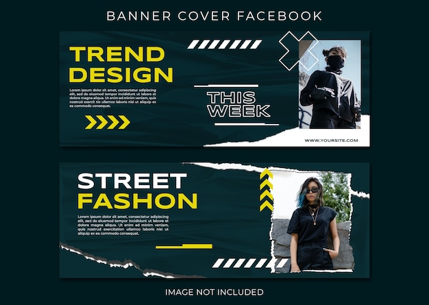 Trend desgin street fashion omslag facebook-sjabloon