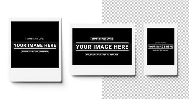 Tres fotos instantáneas recortadas en una maqueta blanca