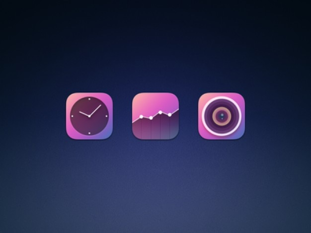 Tres iconos iphone psd