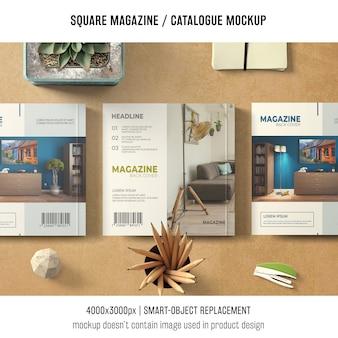 Tres maquetas cuadradas de revistas o catálogos