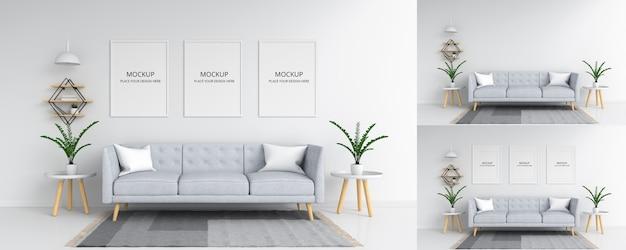 Tres marco de fotos vacío para maqueta en la sala de estar