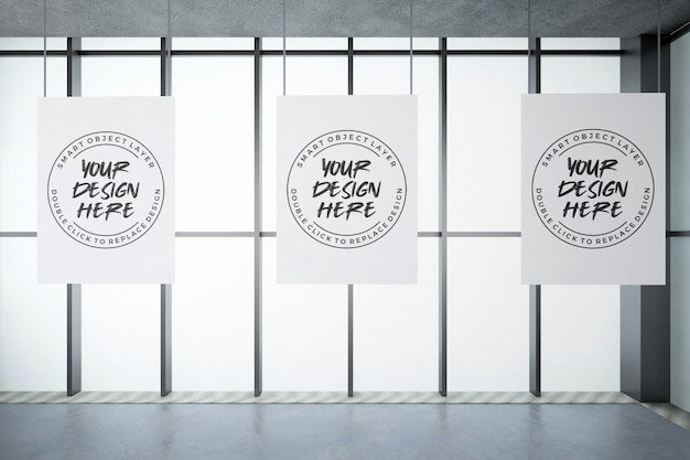 Tres póster en maqueta de pared