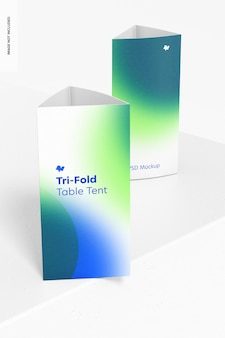 Tri-fold table tents mockup