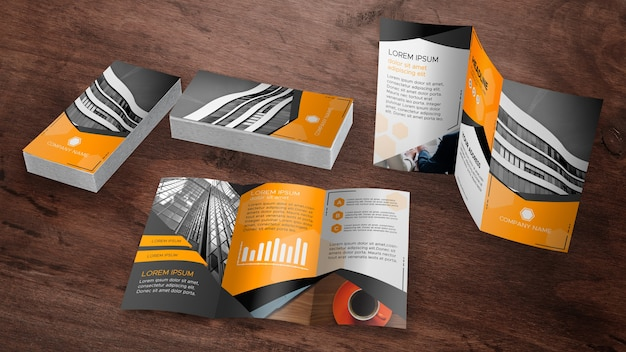 Trifold brochure mockup collectie