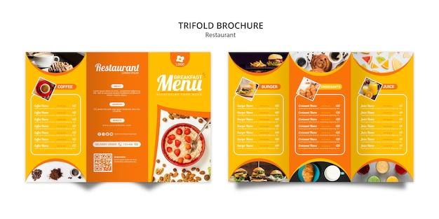 Tripfold plantilla de folleto de restaurante en línea