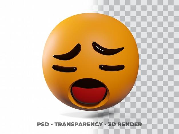 Triste emoticon 3d con fondo transparente