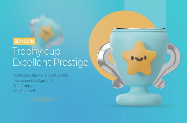 Trofee beker 3d-rendering pictogram