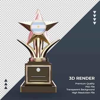 Trofeo 3d bandera argentina renderizado vista frontal