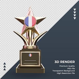 Trofeo 3d bandera de francia renderizado vista frontal