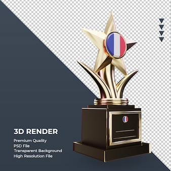 Trofeo 3d bandera de francia renderizado vista izquierda