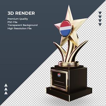 Trofeo 3d bandera de holanda renderizado vista derecha