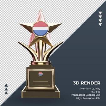 Trofeo 3d bandera de holanda renderizado vista frontal