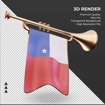 Trompeta 3d bandera de chile renderizado vista izquierda