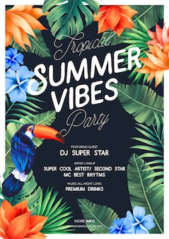 Tropical summer vibes party poster con natura esotica