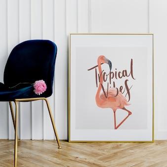 Tropical vibes flamingo frame mockup