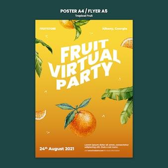 Tropisch fruit poster sjabloon