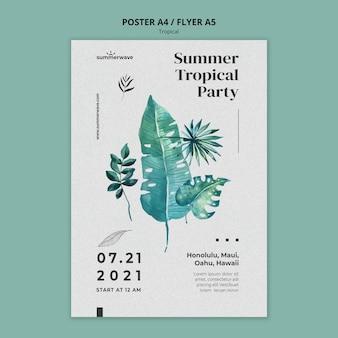Tropische ontwerpsjabloon poster stijl