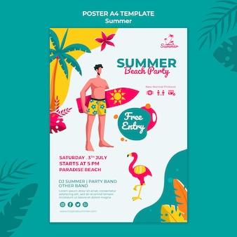 Tropische zomer partij afdruksjabloon