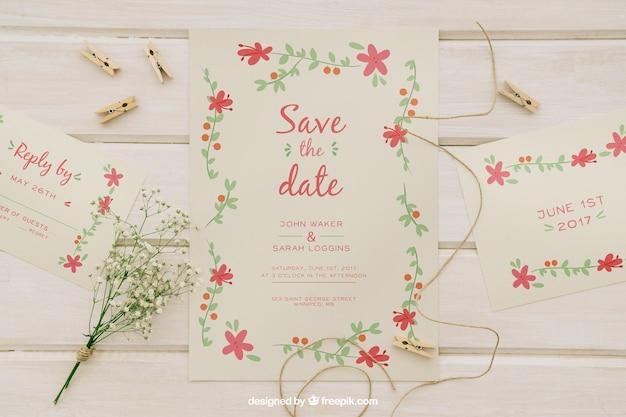 Trouw uitnodigingen en bruiloft elementen