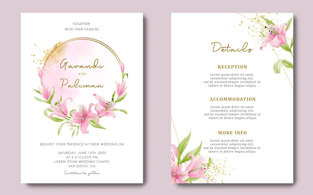 Trouwkaartsjabloon en detailskaart met aquarel roze leliebloem