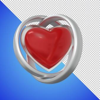Trouwring met glazen hartvorm 3d render geïsoleerd Premium Psd