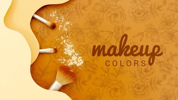 Trucco colori con set di pennelli