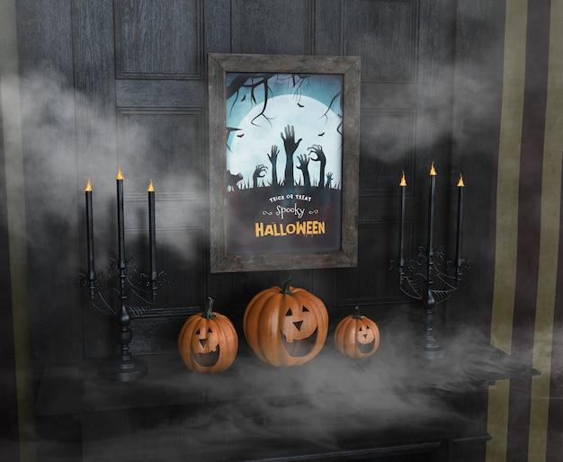 Truco o trato espeluznante de halloween y calabazas