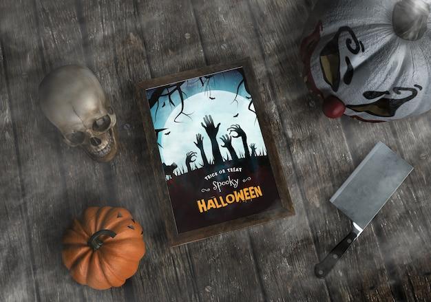 Truco o trato maqueta espeluznante de marco de halloween
