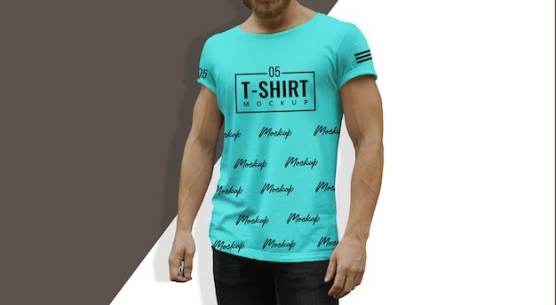 Tshirt mockup teal uomo