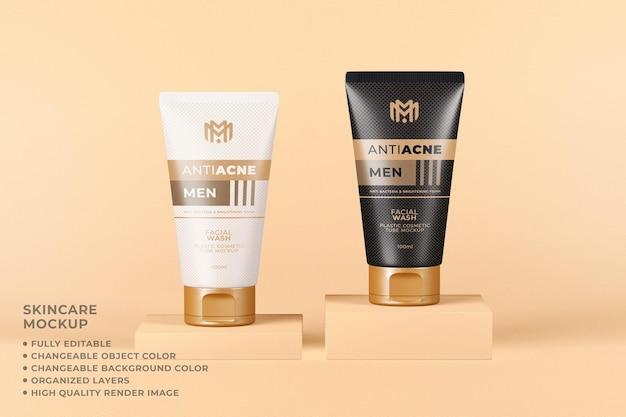 Tubo cosmético de la maqueta que empaqueta el color cambiable del lavado facial del cuidado de la piel