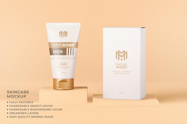 Tubo de maqueta cosmética envasado cuidado de la piel color editable
