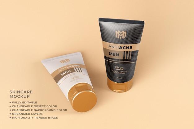 Tubo de maqueta cosmética que empaqueta lavado facial de cuidado de la piel de color cambiable