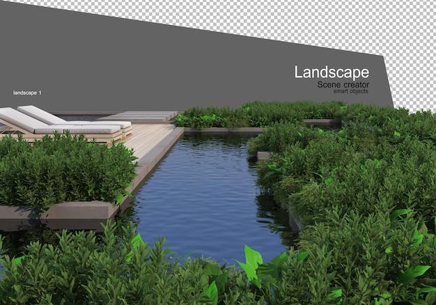 Tuinaanleg en renderen van tuinmeubilair