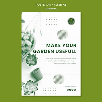 Tuinieren poster sjabloon thema