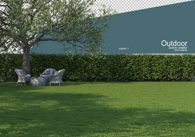 Tuinmeubilair op het gazon