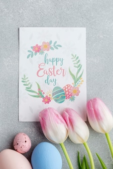 Tulipani con uova di pasqua