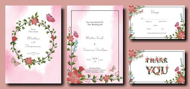 Tulp en lelie bloemen ontwerp uitnodigingsbundel met splash effect achtergrond