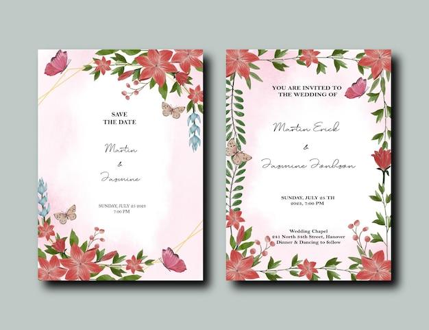 Tulp en lelie bloemen ontwerp uitnodigingspakket met splash effect achtergrond
