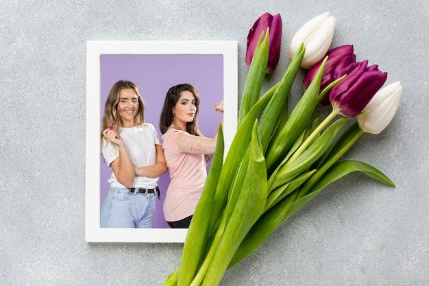Tulpenboeket met foto