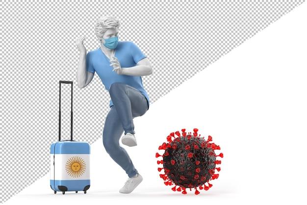 Turista que viaja a argentina asustado por la molécula del virus. concepto de pandemia