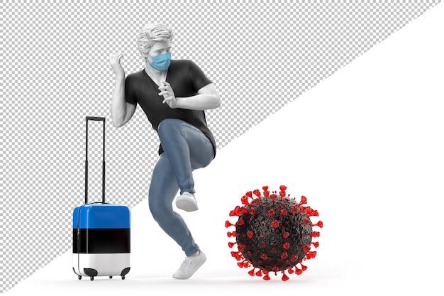 Turista que viaja a estonia asustado por la molécula del virus. concepto de pandemia. representación 3d
