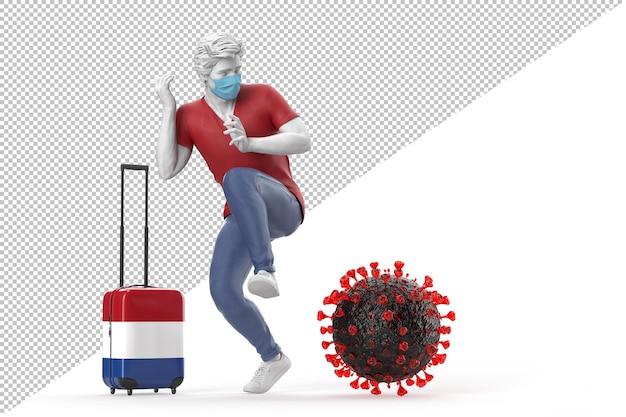 Turista que viaja a holanda asustado por la molécula del virus. concepto de pandemia. representación 3d
