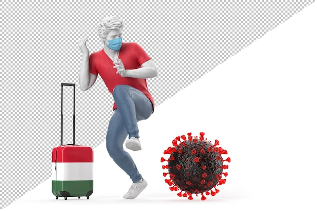 Turista que viaja a hungría asustado por la molécula del virus. concepto de pandemia. ilustración 3d