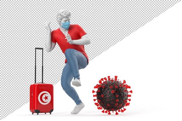 Turista que viaja a túnez asustado por la molécula del virus. concepto de pandemia. representación 3d