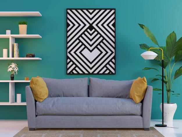 Turquoise muur interieur frame mockup